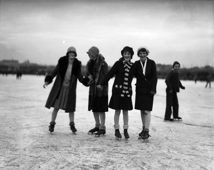 Girls Skating on Trout Lake, 1929. City of Vancouver Archives 99-1902