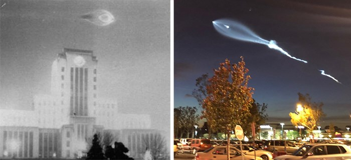 Left photo: 1937 UFO sighting over city hall. Right: Dec 22, 2017 SpaceX launch photo by