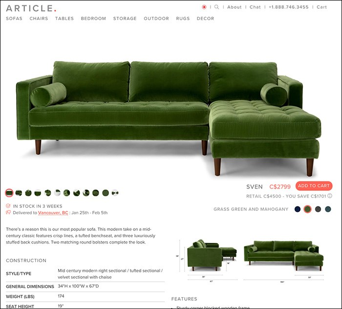 Article's Sven sectional, as seen on their website