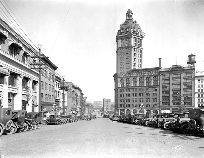 View of Pender Street east of Cambie Street, showing the Sun Tower, 1927. Vancouver Archives Item: Str N164