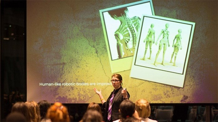 Suzanne Gildert, co-founder and CEO of Vancouver-based Sanctuary AI, discusses building human-like robots during a recent Women Who Code Vancouver event at Microsoft Garage. Image / Microsoft