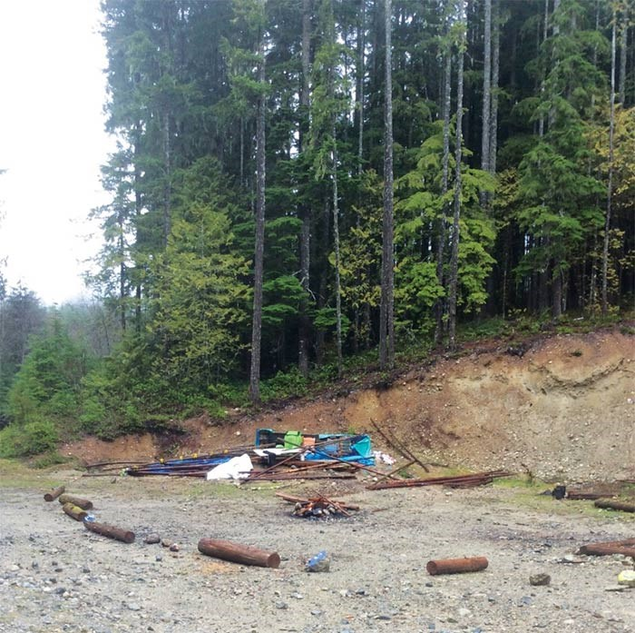 Garbage left behind from a protest camp beside the Roberts Flume Forest Service Road in Roberts Creek.