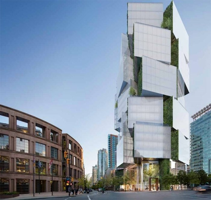 Council has approved a 24-storey office tower for a site across from library square. Artist rendering