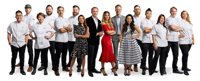Mijune Pak is sixth from the right in this photo of Top Chef Canada Season 6 chefs and host/judges (Photo: Corus Entertainment/Food Network Canada)