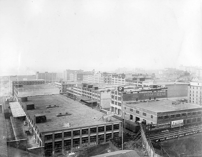 Warehouses in Yaletown, ca. 1910. Photo: Vancouver Archives Item: M-11-80