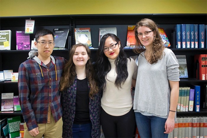 From left, undergrads Richard Kim, Gabrielle McLaren, Helen Luo and Melanie Hiepler were some of the winners in this year's inaugural SFU Student Learning Commons' undergraduate writing contest.   Photograph By SFU