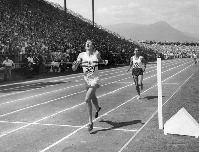 The reverberations of Roger Bannisters' victorious race at the newly constructed Empire Stadium in Hastings Park Aug. 7, 1954 are still felt today. Photo BC Sports Hall of Fame