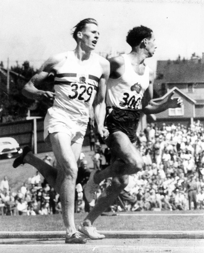 The moment Roger Bannister overtook John Landy in the Miracle Mile at Empire Stadium has become on the city's (and the sport world's) most iconic images. Photo CVA 180-3607