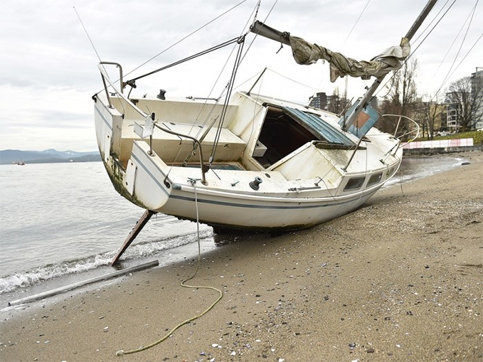 This sailboat washed up on Sunset Beach Friday. So far it's unknown who the owner is. Photo Dan Toulgoet