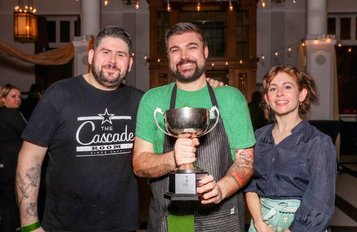 Chefs Tim Evans, Alessandro Vianello, and Elizabeth Bryan with the Curry Cup (Photo by Charles Zuckermann)