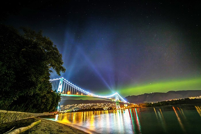 Northern Lights over North Vancouver. Shutterstock