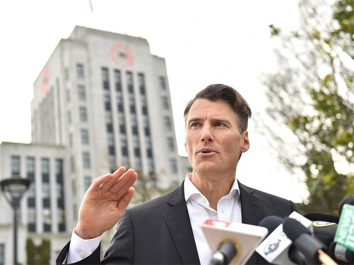 Mayor Gregor Robertson announcing in January that he will not seek a fourth term as mayor. Photo Dan Toulgoet