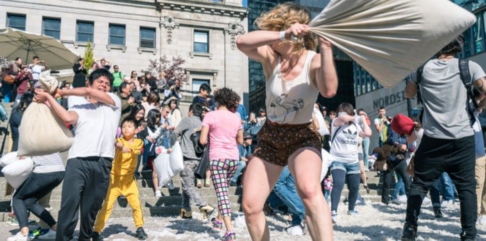 Vancouver Pillow Fight Day (LeonWang/Shutterstock)