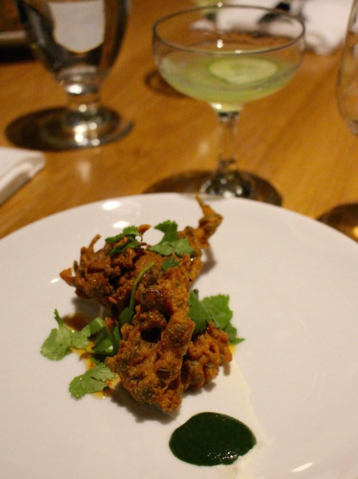 Sunchoke and nettle pakora with cocktail made using Ampersand Distilling Co. Gin (Lindsay William-Ross/Vancouver Is Awesome)