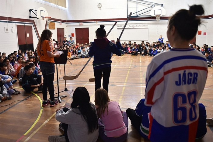 Two hockey sticks signed by Vancouver Canuck players Chris Tanev and Bo Horvat are being raffled off by Grenfell elementary students to raise money for the Humboldt Broncos hockey team.   Photograph By Dan Toulgoet