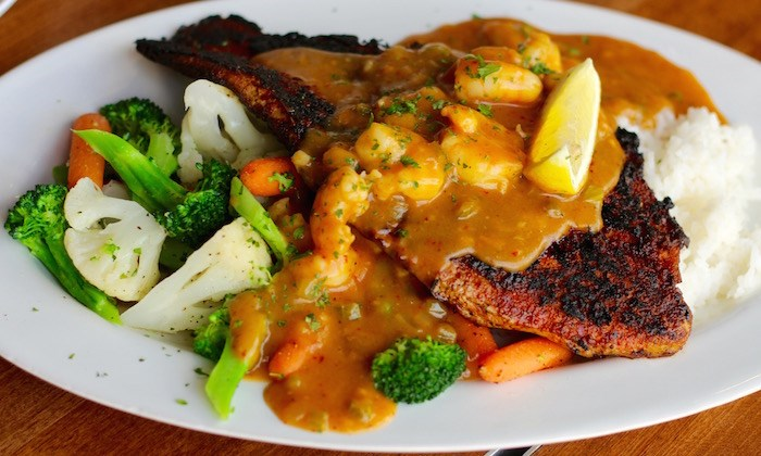Blackened Catfish with Etouffé on Rice (Lindsay William-Ross/Vancouver Is Awesome)