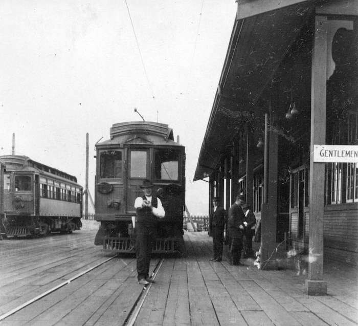 A streetcar at the B.C. Electric Railway station on the west side near the north end of the Granville Street Bridge circa 1920 (Vancouver Archives)