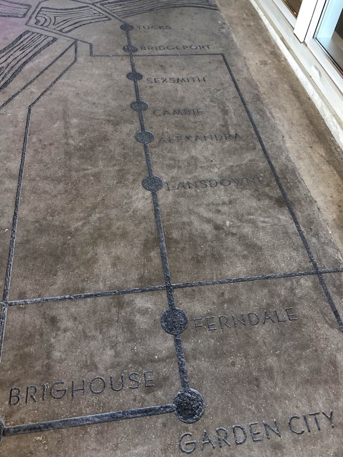 The map of the Lulu Island Line is in concrete at the entrance to the museum (Lindsay William-Ross/Vancouver Is Awesome)