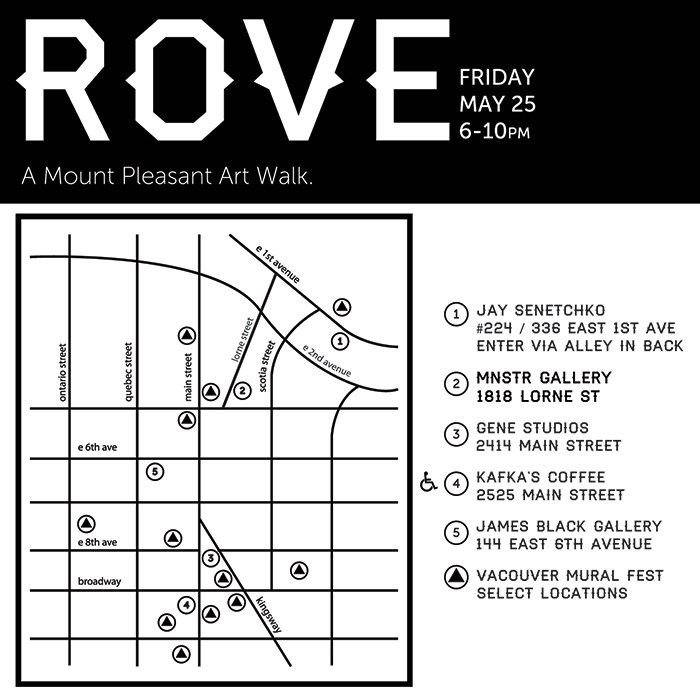 Pick up your free ROVE map at any of these locations
