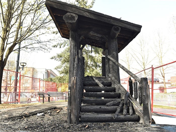 The playground at Andy Livingstone Park suffered extensive damage in a fire early Friday morning. Photo Dan Toulgoet