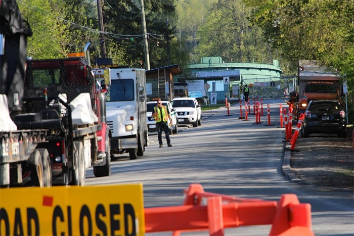 The City of Burnaby blocked off Shellmont Street near the Trans Mountain tank farm in Burnaby Friday morning.