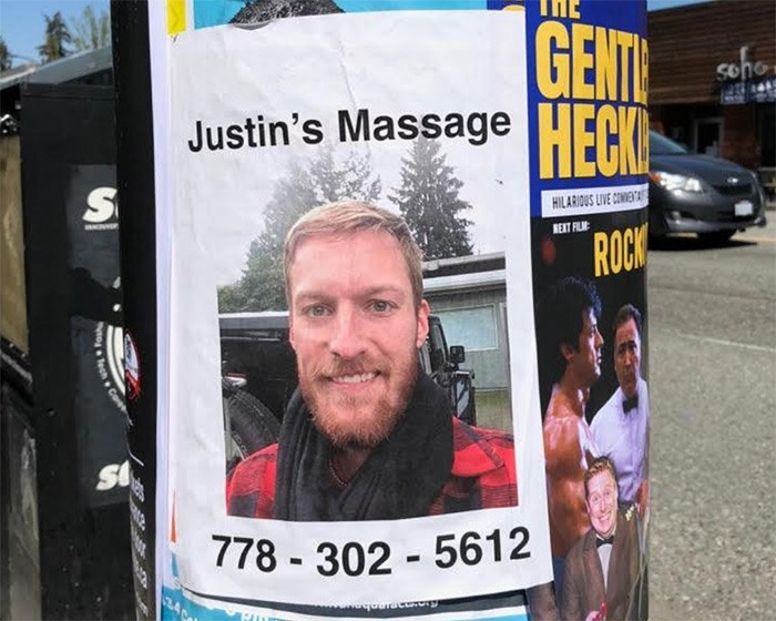Justin's Massage poster on the corner of Cambie and 19th Avenue
