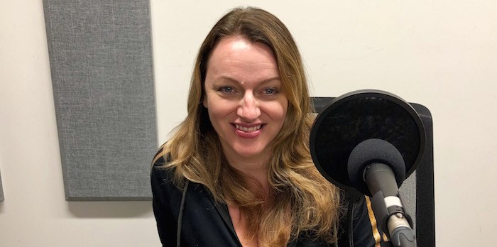 Corinne Lea of The Rio Theatre at the V.I.A. Podcast Studio (Lindsay William-Ross/Vancouver Is Awesome)