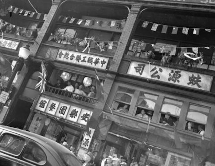 Aug 14, 1945. V.J.Day Celebration, 100 block of E Pender St. CVA 586-3955/Vancouver Archives