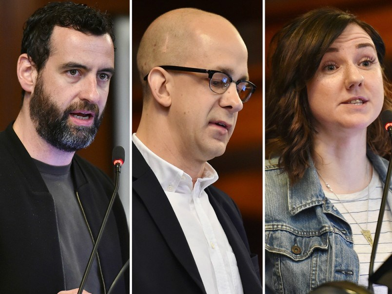 Amsterdam night mayor Mirik Milan, UBC urban planning graduate Robert Catherall and Good Night Out Vancouver coordinator Stacey Forrester all spoke at Wednesday's council meeting concerning changes to the city's liquor laws.