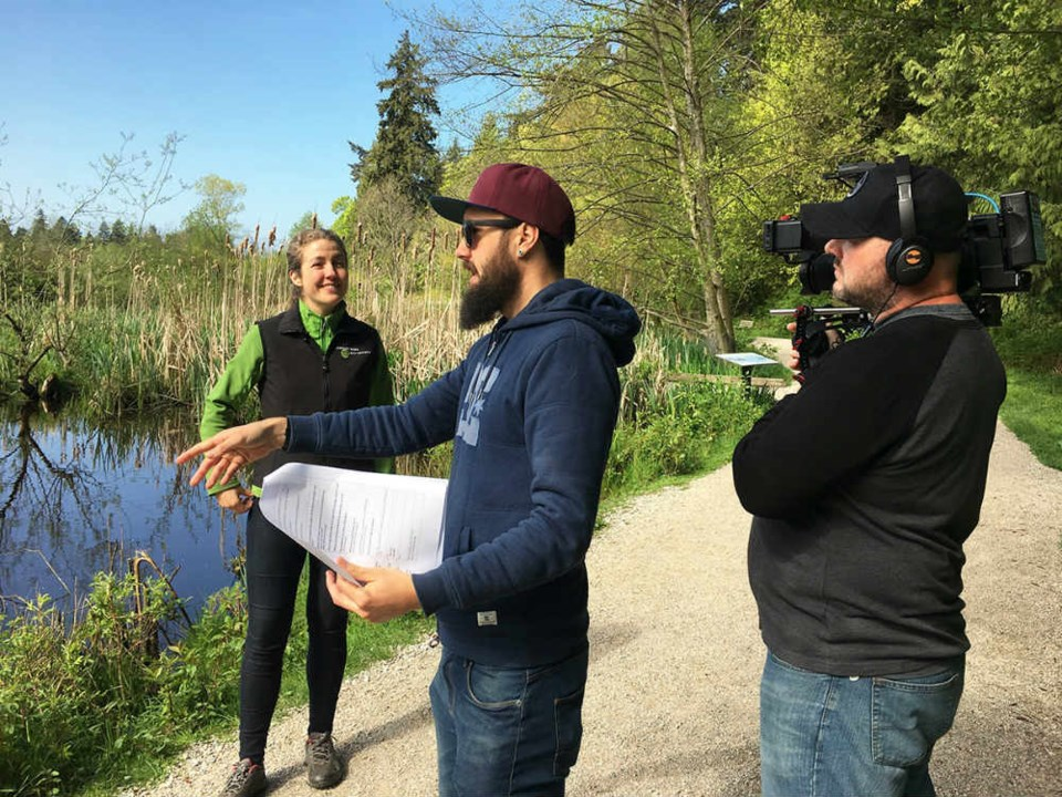 Location director Graham Evans and director of photography Mark Goodhew set the scene for Celina Starnes' interview for the Discovery Channel. - Martha Perkins