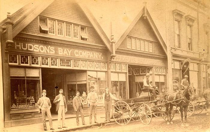 Hudson's Bay Company storefront at 150 Cordova Street, 1889. Photo: Vancouver Archives Item: CVA 61-1