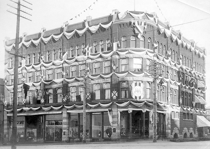 Hudson's Bay store decorated for the Duke and Duchess of Cornwall and York, 1901. Vancouver Archives Item: AM54-S4