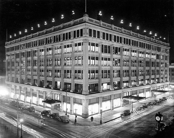 Exterior of the Hudson Bay Co. Store at night, 1944. Vancouver Archives Item: Bu P316