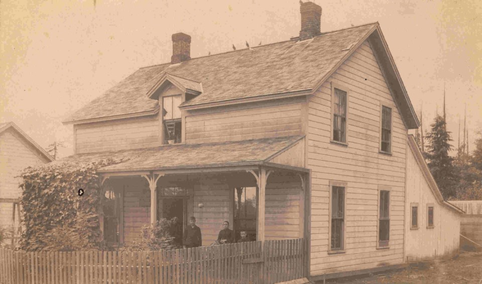 The Patterson home at Nob Hill, ca.1890. Left to right Fred Patterson, Emily and Willie Williams. CVA OUT P330