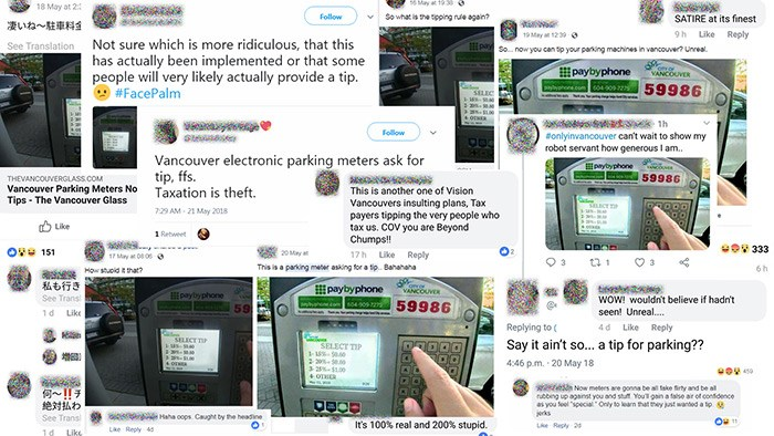 Some online reactions to the fake parking meter tip story. Photo supplied