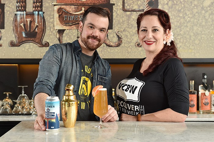 Bartender Shaun Layton (on left) and Vancouver Craft Beer Week director Leah Henghan (on right) enjoy a Sea To Sky RAD-ler—made with VCBW's Double Dry Hopped Pilsner collaboration brew—at Odd Society Spirits in East Vancouver. Photo: Dan Toulgoet.