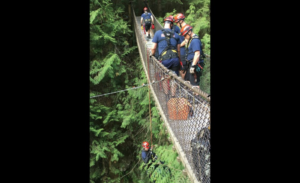 North Vancouver crews perform a high-angle rescue, lowering firefighters to the floor of Lynn Canyon. photo supplied, @DNVFRS