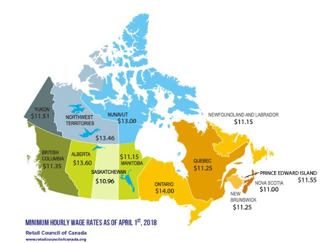 A map showing the minimum wage in each province and territory across Canada. Photo: Retail Council of Canada.