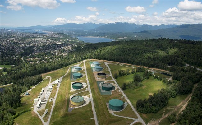 A aerial view of Kinder Morgan's Trans Mountain tank farm is pictured in Burnaby, B.C., is shown on Tuesday, May 29, 2018. THE CANADIAN PRESS/Jonathan Hayward