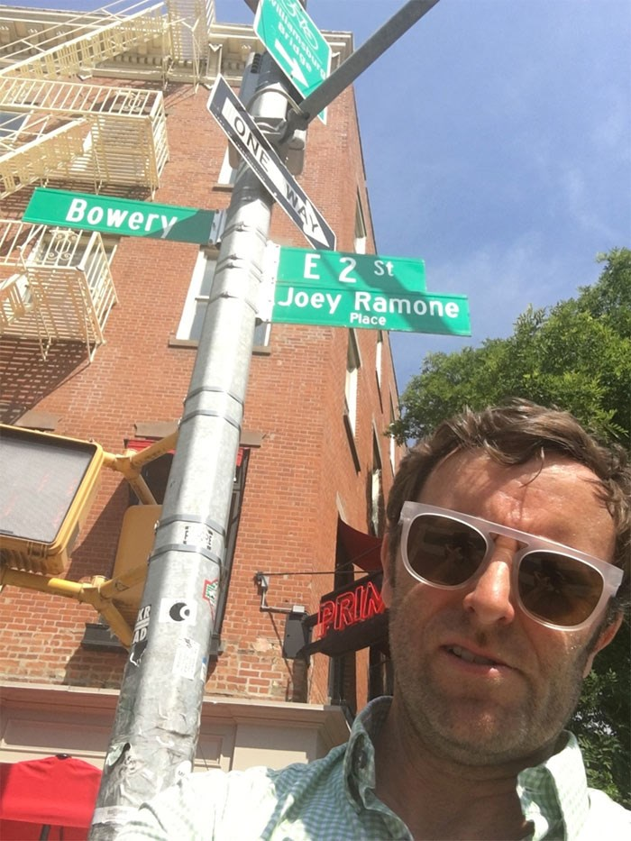 Bowery boy Grant Lawrence pedalled his way to the Lower East Side to pay his respects. Photo Grant Lawrence