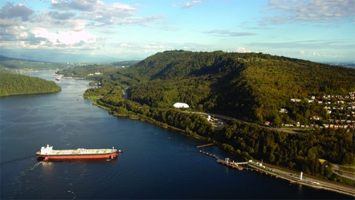 Kinder Morgan's Westridge terminal in Burnaby, now being expanded, is among the corporation's assets being handed over to federal control as part of the government's nationalization of the Trans Mountain pipeline. Image: BIV files