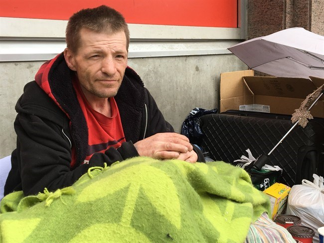 John Bingham is shown outside the Tim Horton's at 865 W. Broadway in Vancouver, Tuesday, June 5, 2018. Bingham says he was friends with Ted, a homeless man who spent his dying hours inside the restaurant. THE CANADIAN PRESS/Laura Kane