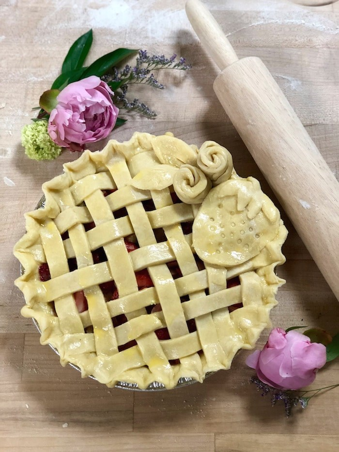 Lattice, rosettes, and a strawberry top a fresh Strawberry-Rhubarb pie (Lindsay William-Ross/Vancouver Is Awesome)