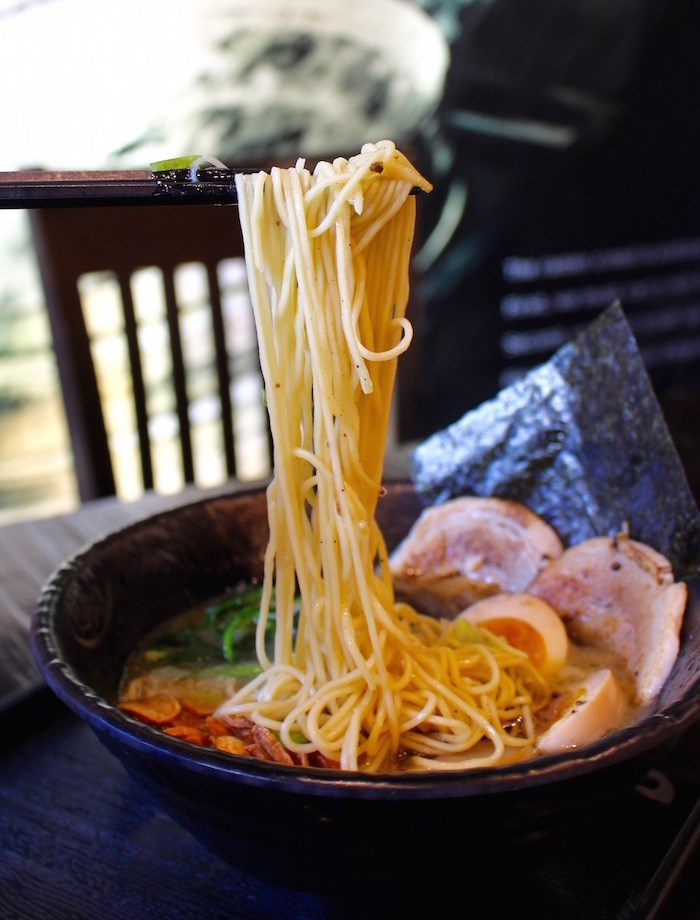 Thin noodles in the Black Garlic Ramen (Lindsay William-Ross/Vancouver Is Awesome)