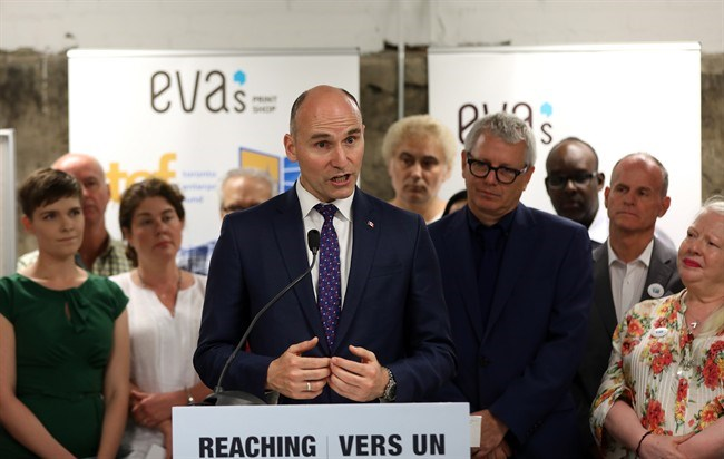 Federal Minister of Families, Children and Social Development Jean-Yves Duclos is seen at a youth homelessness organization in Toronto on Monday, June 11, 2018. Duclos announced an expansion of Ottawa's initiative to combat homelessness in Canada. THE CANADIAN PRESS/Colin Perkel