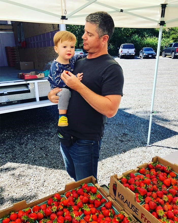 Whole Latta love: Brian Latta met his wife, international marketing maven Jessica O'Callaghan, at the fruit stand. They now have a two-year-old boy.