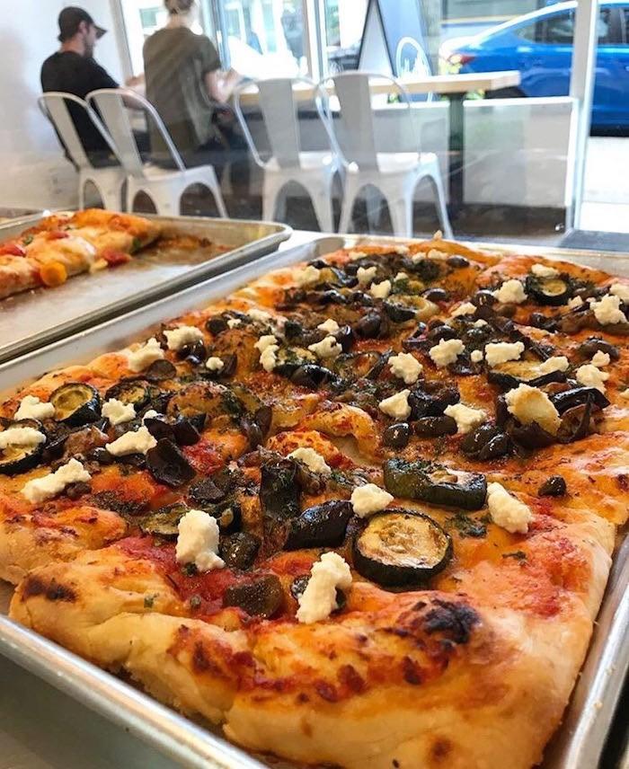 Vegan Sicilian pizza with housemade almond ricotta (