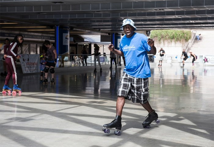 Robson Square's skating rink will be turned into a classic disco Sunday for the second annual F.U.B.A.R. Roller Jam. All proceeds will go the Make-A-Wish BC & Yukon. Al Lamons, also known as DJ Alibaba, has been raising funds for Make-A-Wish for the past 15 years through his charitable organization F.U.B.A.R. — Friends United Beyond All Race. Photo Rebecca Blissett