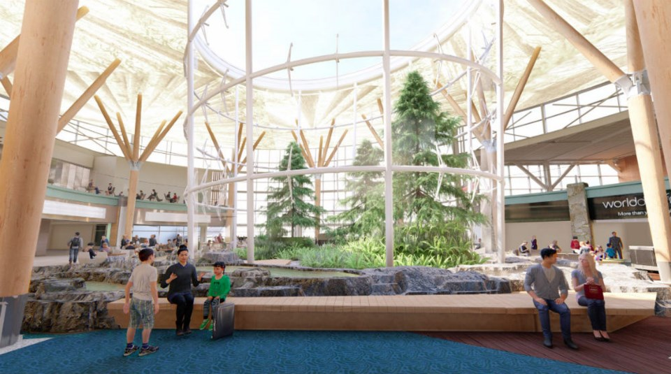 Forest feature in Terminal D Photo YVR Airport