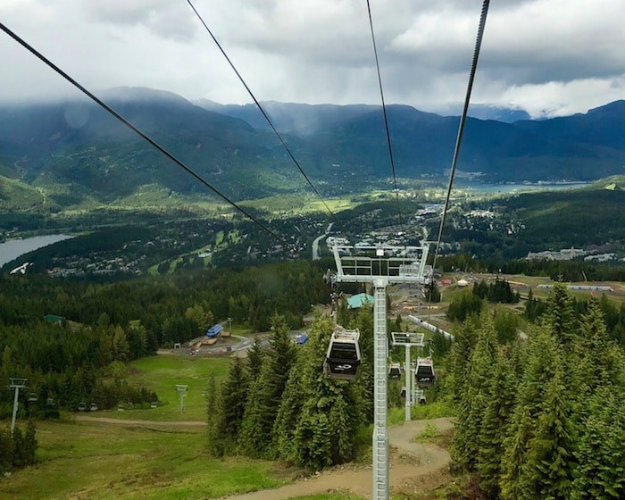 Heading up Whistler Mountain on the gondola on a moody June afternoon (Lindsay William-Ross/Vancouver Is Awesome)